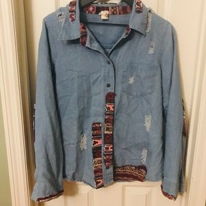 BKE Gimmick Denim Distressed Patch Button Front M